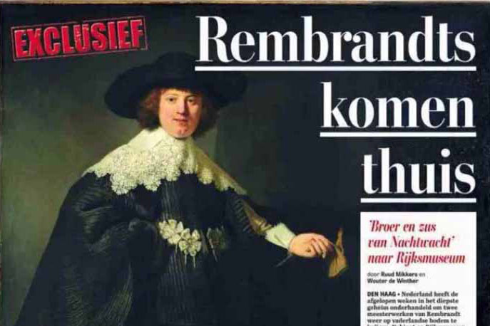 Rembrands schilderijen coming home (Dutch newspaper)